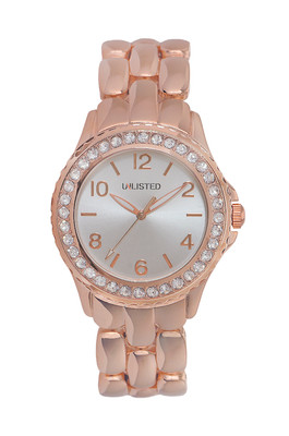 Ladies' 'unlisted' watch rose gold tone with silver and stainless steel accents