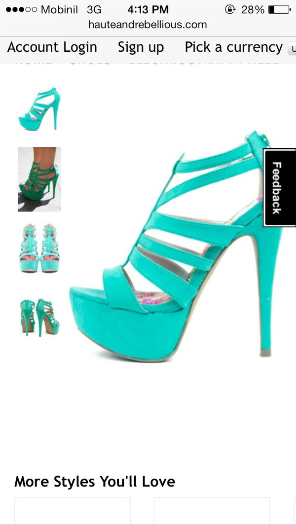 shoes high heels sandals mint