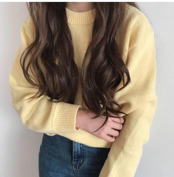 sweater girly yellow sweatshirt jumper