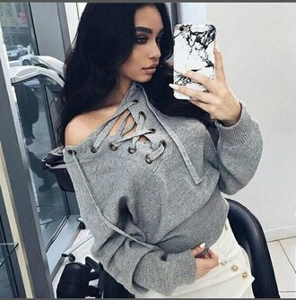 sweater lace up jumper grey sweater
