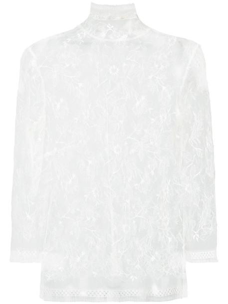 Adam Lippes vest sheer women lace white cotton jacket