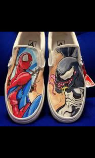 shoes, vans, spider-man, venom, marvel