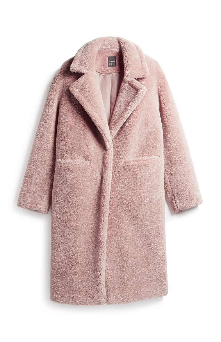 Blush Long Borg Coat