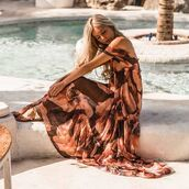 dress,sundays the label,maxi dress,maxi,floral,flowers,orange,brown,off the shoulder,off the shoulder dress,summer,spring,races,boho,casual