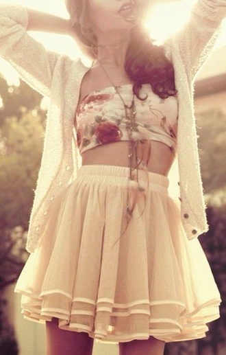 skirt jewels bandeau tank top blouse top high waisted skirt cream white sweater flower pattern cute flows cardigan wool cotton casual spring gloves girly skater skirt tulle skirt pink rose transparent summer cute layered skirt white skirt white lace skirt