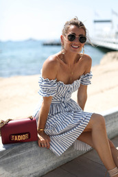 dress,tumblr,off the shoulder,off the shoulder dress,mini dress,summer dress,summer outfits,sunglasses,stripes,striped dress