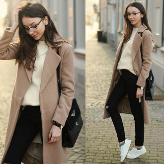 coat beige black jeans white shoes trainers sneakers bag armani exchange glasses geek classy trendy casual