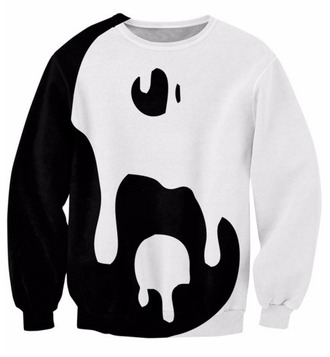 sweater cool fashion style fall outfits trendy yin yang black and white long sleeves ogvibes