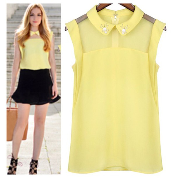 Yellow Fashion Blouse 115