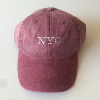 hat pink snapback cap pink hat new york city