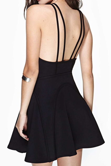 abaday | abaday Backless Double Shoulder Straps Black Skater Dress, The Latest Street Fashion