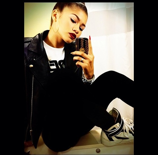 jacket leather jacket girl zendaya cute swag swag shoes nail polish