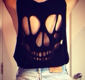 shirt shredded shirt skull skull t-shirt