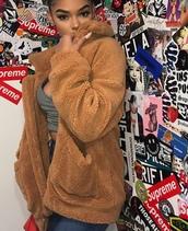 jacket,borg fleece,brown,oversized,sherpa,sherpa lined,faux sherpa,sherpa fleece,sherpa jacket,borg,borg jacket,oversized jacket,soft