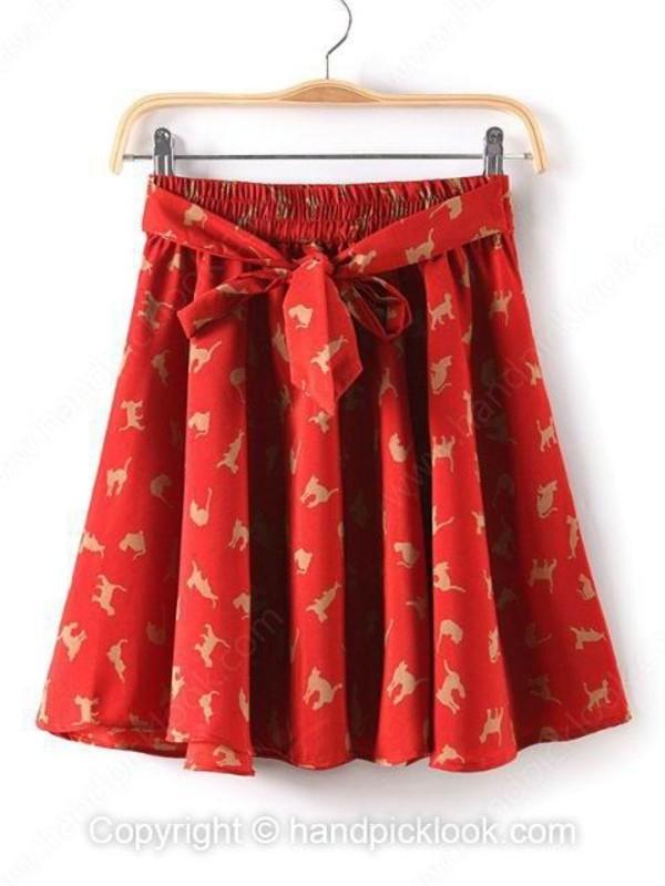 skirt red skirt floral skirt red dress print dress printed skirt flare skirt handpicklook.com