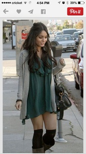 dress,casual dress,boho,vanessa hudgens,green dress,cardigan,blouse,shoes,socks