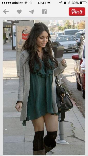 dress casual dress boho vanessa hudgens green dress cardigan blouse shoes socks