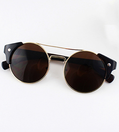 Brown lenses gold round sunglasses