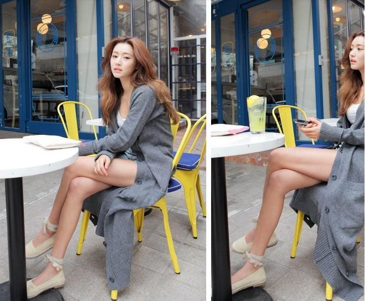 Korean style long design sweaters,gray cardigans women's fashion ...