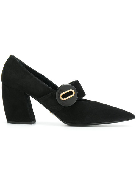 Prada women pumps leather suede black shoes