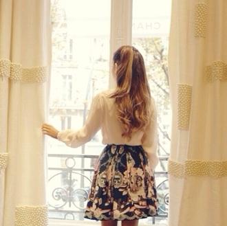 blouse ariana grande skirt floral skirt