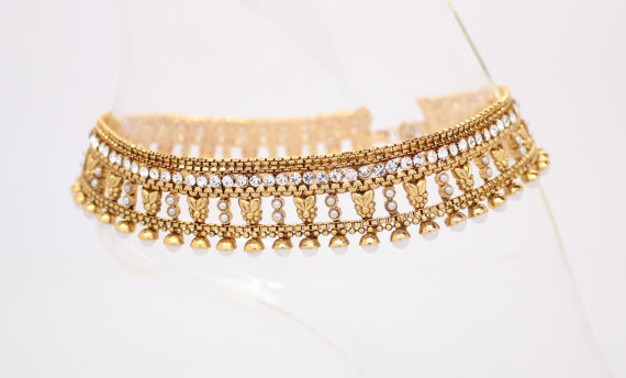 Handmade Heavy Gold Authentic Polki Pearl Indian Bollywood Anklet