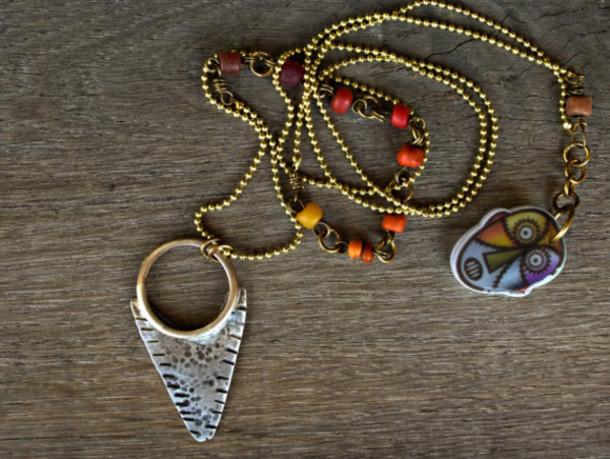 jewels tribal pattern arrow jewelry amulet trade beads pave diamond jewelry long necklace gypsy jewelry BeadStonenSkin hippie necklace boho necklace bohemian jewelry layering necklace Jewelry  Necklace