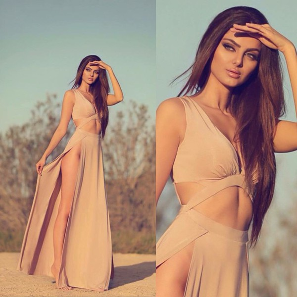 dress maxi dress nude dress double slit skirt
