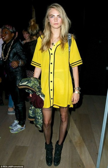 cara delevingne jacket shirt yellow