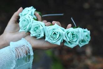 hair accessories hat hairband of roses floral hat floral mint mint roses hat mint blue flower crown