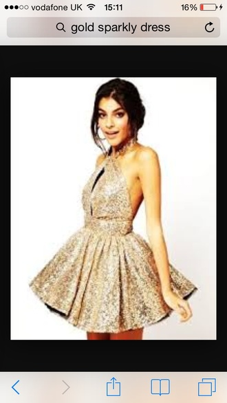 dress gold sparkly backless
