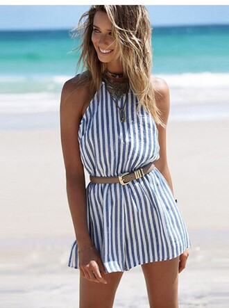 romper girly girl girly wishlist dress mynystyle stripes boho fashion trendy cute blue white