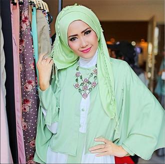 scarf luluelhasbu muslim muslimah green green dress lime light green spring green spring spring outfits cute fashion dress blouse hijab