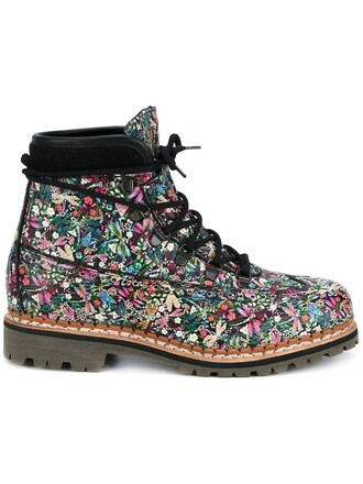 women boots floral leather wool brown shoes
