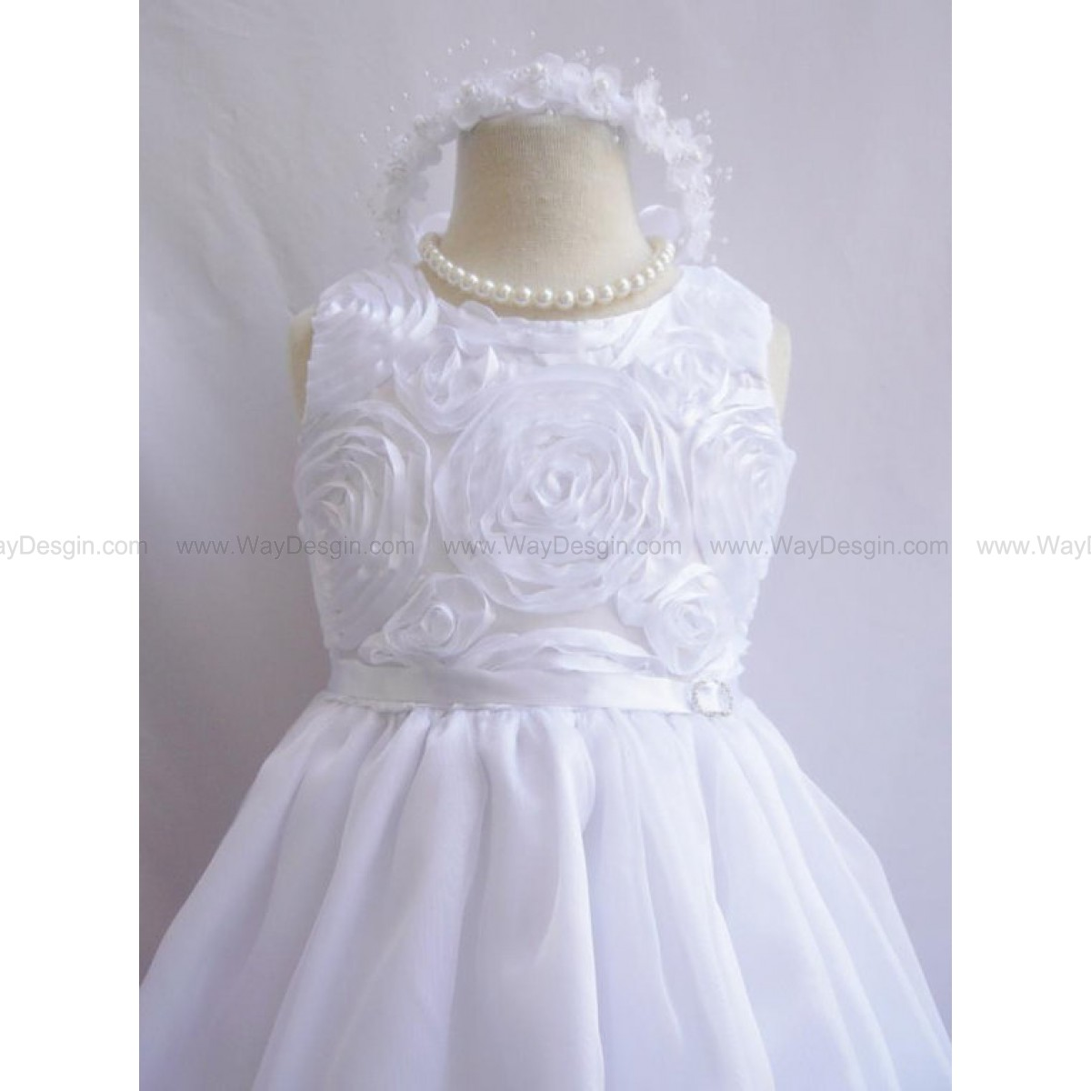 Flower Girl Dress - WHITE Rosette Bodice Dress - Communion, Easter, Junior Bridesmaid, Wedding - From Toddler to Teen