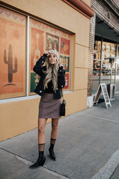 styled avenue,blogger,jacket,top,hat,skirt,socks,shoes,beret,ankle boots,winter outfits