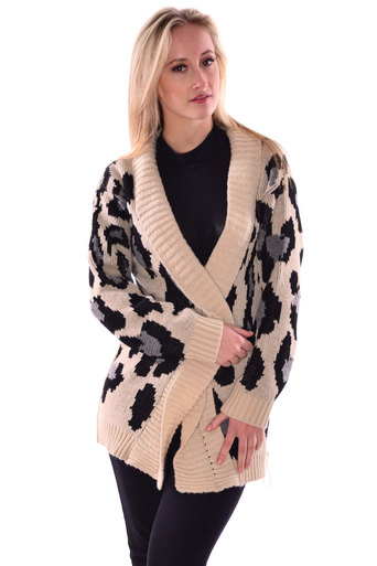 Dusan Long Sleeve Leopard Knitted Open Cardigan - Pop Couture
