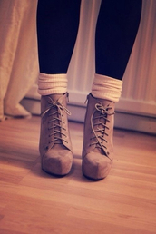 underwear,vintage,socks,shoes,heel boots,boots,heeled shoes,beige shoes,suede boots,winter boots,winter outfits,knit leg warmers,brown,leather,suede,heels,laced,cute,summer,white,brown leather boots,cute high heels,high heels,nude high heels,beach,platform lace up boots,fall outfits,idek what to tag,ankle boots,tan,suade,booties,platform shoes,fall boots