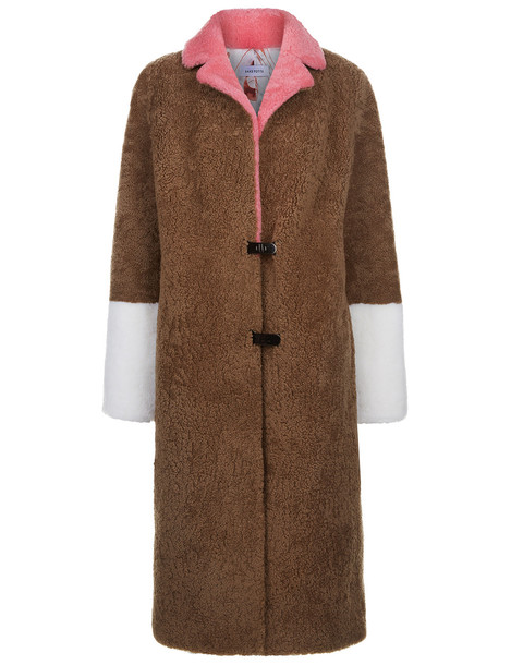 Saks Potts coat white pink camel red beige