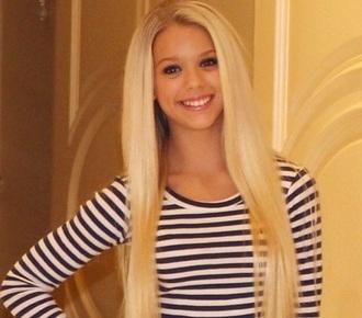 t-shirt bonde hair striped top