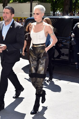 pants top cara delevingne fashion week 2017 paris fashion week 2017 choker necklace