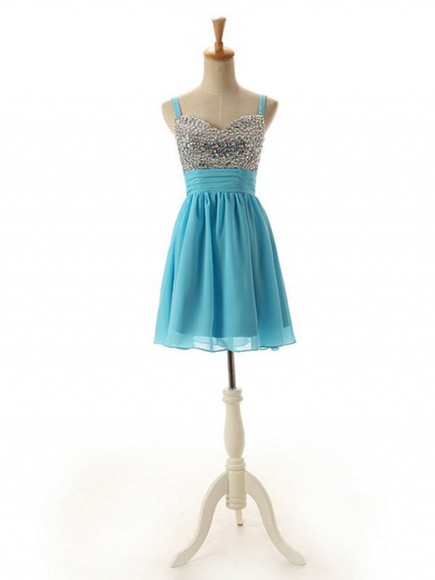 short dress blue dress evening dress prom dress spaghetti strap dress short prom dress chiffon