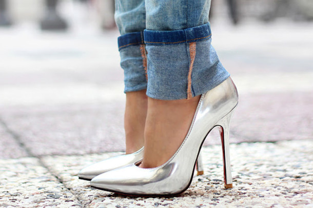Shoes: sirma markova, heels, high heels, silver, metallic ...