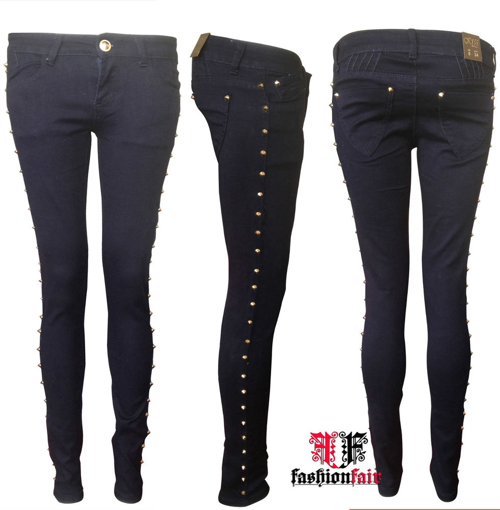 Brand New Ladies Side Gold Stud Spike Skinny Slim Fit Denim Jeans 6 8 10 12 | eBay