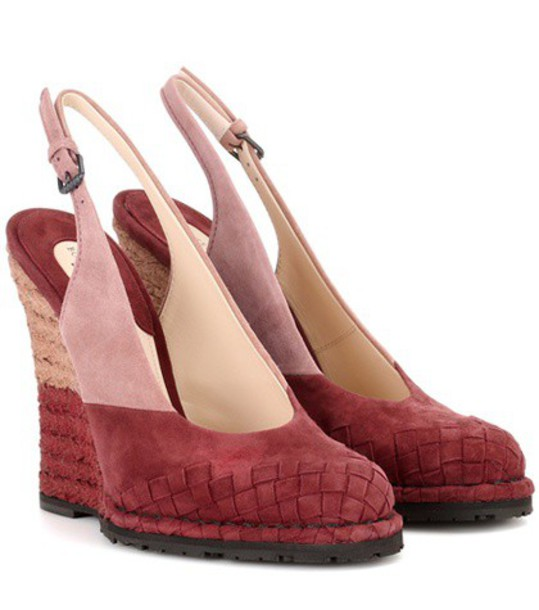 Bottega Veneta back pumps suede pink shoes
