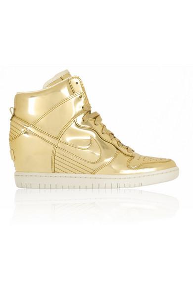 Nike|Dunk Sky Hi metallic leather wedge sneakers|NET-A-PORTER.COM