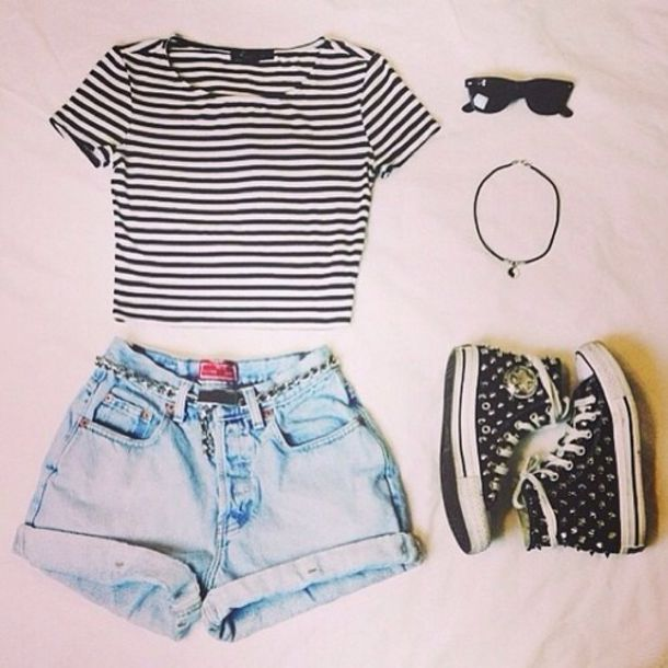 top tumblr tumblr af striped shirt crop tops cute top tumblr outfit overalls hippie hipster top indie boho boho shirt shorts