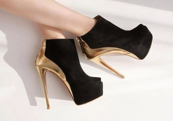 shoes heels black gold high heels