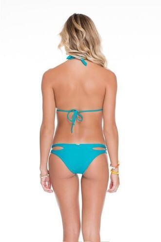 swimwear reversible aqua bikini bottoms blue cheeky gold luli fama