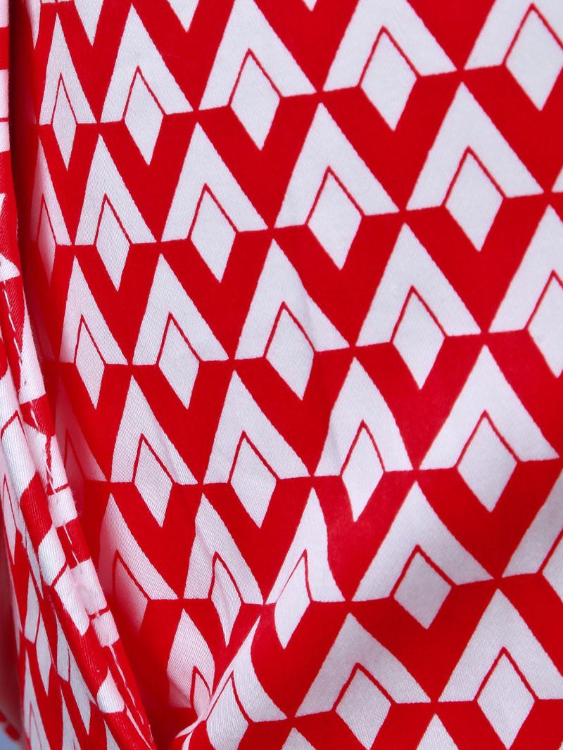Red White Diamond Print Shorts - Sheinside.com